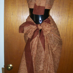 2 Pc. Growing Flowers Sarong ~ Brown No Fringe